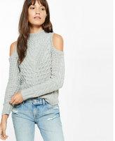 Express cold shoulder mock neck cable knit sweater