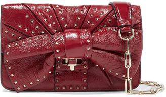 Valentino Bow-embellished Crinkled-leather Shoulder Bag