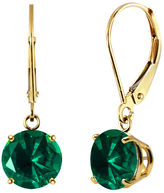 FINE JEWELRY Lab-Created Round Emerald 10k Yellow Gold Leverback Dangle Earrings