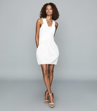 Reiss GWEN RUCHED MINI DRESS White