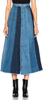 Saint Laurent Long Patchwork Denim Skirt