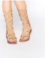 Glamorous Stone Tie Up Ghillie Flat Gladiator Sandals