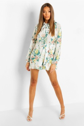 boohoo Button Front High Neck Floral Playsuit