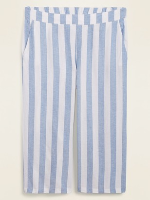 Old Navy High-Waisted Striped Linen-Blend Plus-Size Culotte Pants