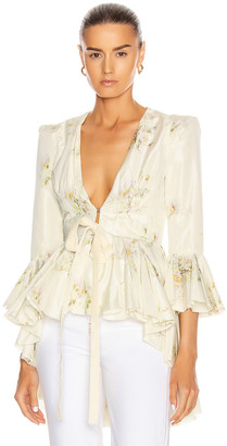Brock Collection Quaid Floral Ruffle Jacket in Natural | FWRD