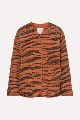 Anine Bing Elizabeth Quilted Tiger-print Shell Jacket - Brick