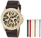 XOXO Women's XO9051 Gold-Tone Cheetah-Print Watch with Seven Interchangeable Bands