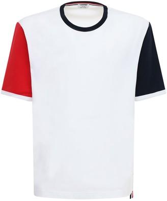 Thom Browne Two Tone Sleeves Cotton T-Shirt