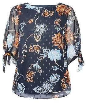Dorothy Perkins Womens **Billie & Blossom Navy Floral Print Tie Sleeve Top