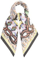 Matty Bovan - Chain And Logo-print Silk Scarf - Womens - Purple