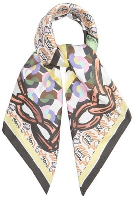 Matty Bovan - Chain And Logo-print Silk Scarf - Purple