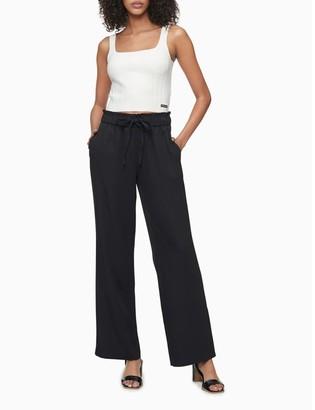Calvin Klein Solid Tie Waist High Rise Wide Leg Soft Pants