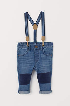 H&M Jeans with Suspenders - Blue
