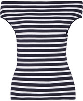 Michael Kors Off-the-shoulder Striped Stretch-knit Top - Navy