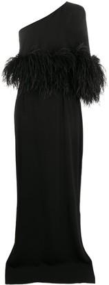 16Arlington Alder feather trim evening gown