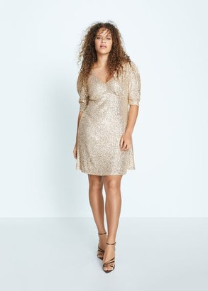 MANGO Violeta BY Puffed sleeves sequined dress silver - 10 - Plus sizes