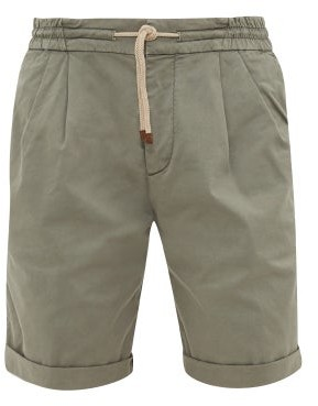 Brunello Cucinelli Garment-dyed Cotton-blend Twill Shorts - Mens - Green
