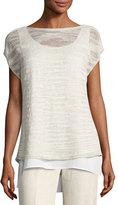 Lafayette 148 New York Short-Sleeve Glistening Linen-Blend Layered Top
