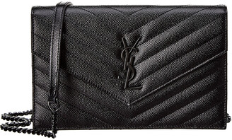 Saint Laurent Monogram Matelasse Leather Envelope Chain Wallet