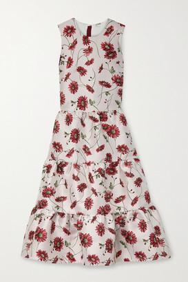 Adam Lippes Tiered Floral-print Satin-jacquard Midi Dress - Pink