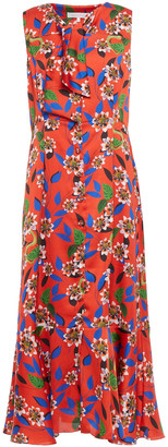 Borgo de Nor Meta Fluted Floral-print Satin-crepe Midi Dress
