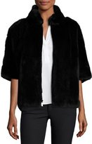 Diane von Furstenberg Rabbit Fur Bolero Jacket, Black