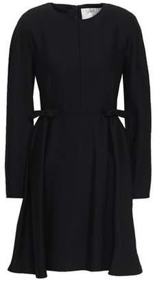 Valentino Bow-embellished Pleated Wool-blend Mini Dress