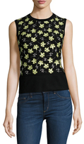 Carolina Herrera Wool Tussilago Embroidered Sleeveless Sweater
