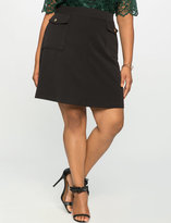ELOQUII Plus Size Flap Pocket A-Line Mini Skirt