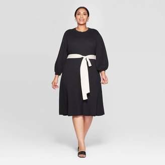 Who What Wear Women's Plus Size Jacquard Print 3/4 Sleeve Mock Turtleneck Intarsia Sweater Midi Dress - Who What WearTM Tan