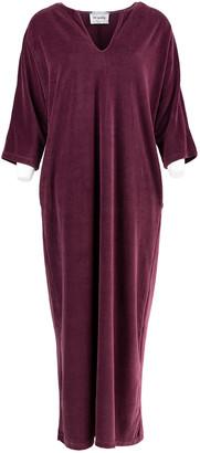 Love Sundaily - Baleares Long Velour Dress Aubergine - xsmall | cotton | aubergine - Caramel/Aubergine