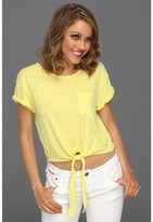 Juicy Couture Solid Slub Crop Top (Meringue) - Apparel
