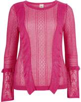 River Island Womens Pink open knit frill detail jumper