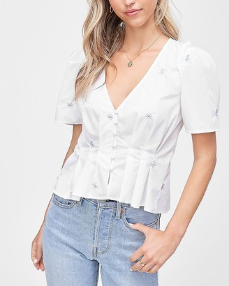 Express En Saison Embroidered Poplin Top