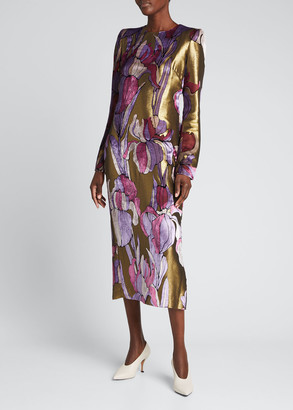 Dries Van Noten Art Deco Floral Velvet & Lame Midi Dress