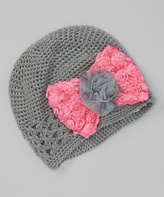 Baby Essentials Gray & Hot Pink Crochet Bow Beanie