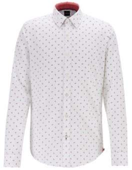 BOSS Regular-fit shirt with multi-coloured print on dobby cotton