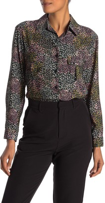 Pleione Patterned Long Sleeve Blouse