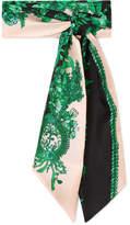 Fendi Printed Silk-twill Scarf - Green