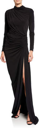 Jovani High-Neck Long-Sleeve Shirred Long Dress with Slit