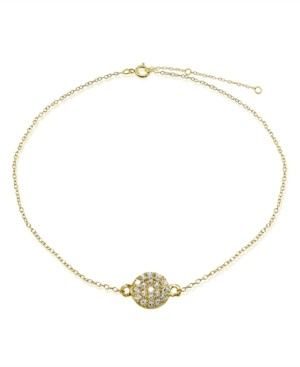 Giani Bernini Cubic Zirconia Pave Disc Ankle Bracelet in Sterling Silver or 18K Gold-Plated Sterling Silver