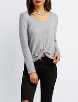 Charlotte Russe Ribbed Cut-Out Knotted Top