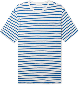 Officine Generale Striped Cotton And Linen-Blend T-Shirt