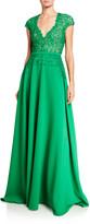 Pamella Roland Flower Lace Bodice V-Neck Gown