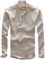 Qiuse Men's Retro Stand Collar Rolled Sleeve Three Button-Up Henley Shirts