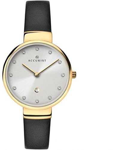 Accurist Ladies Analogue Watch with Silver Dial andブラックレザーストラップ8148
