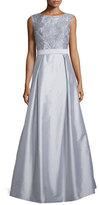 Aidan Mattox Sleeveless Lace-Bodice Ball Gown, Silver