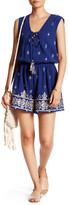 Ark & Co Lace-Up Embroidered Linen Blend Romper