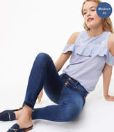 LOFT Modern Unpicked Button Fly Skinny Jeans in Rich Mid Indigo Wash