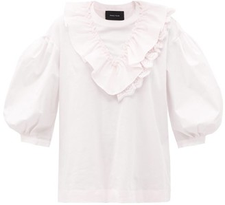 Simone Rocha Ruffled Puff-sleeve Cotton Top - Light Pink